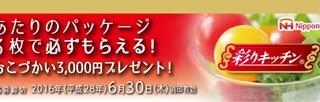 【必ずもらえる】彩りキッチン おこづかい3,000円プレゼントキャンペーン